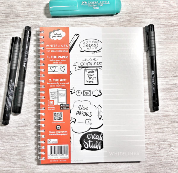 WHITELINES - Writing paper and notebooks with white lines